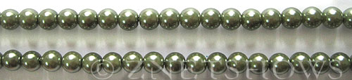 Glass Pearls <b>6mm</b> Round Autumn Green K0251 (15.5-in-str)   per <b>5-str-hank</b>