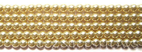 Glass Pearls <b>6mm</b> Round Vanila K0205(15.5-in-str)    per <b>5-str-hank</b>