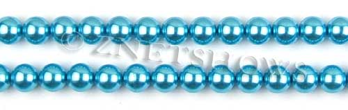 Glass Pearls <b>8mm</b> Round Blue Color K0246 (15.5-in-str)   per <b>5-str-hank</b>