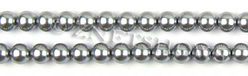 Glass Pearls <b>8mm</b> Round Gray Color K0357 (15.5-in-str)   per <b>5-str-hank</b>