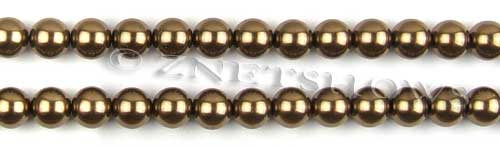 Glass Pearls <b>8mm</b> Round Copper Color K0373 (15.5-in-str)   per <b>5-str-hank</b>