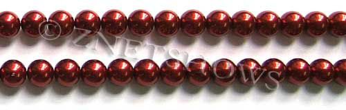 Glass Pearls <b>8mm</b> Round Red Color K0388 (15.5-in-str)   per <b>5-str-hank</b>