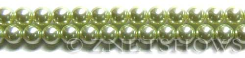 Glass Pearls <b>8mm</b> Round Baby Lime Color K0441 (15.5-in-str)   per <b>5-str-hank</b>
