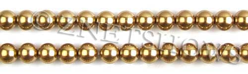 Glass Pearls <b>8mm</b> Round Golden Color K0520 (15.5-in-str)   per <b>5-str-hank</b>