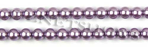 Glass Pearls <b>8mm</b> Round Orchid Color K0562 (15.5-in-str)   per <b>5-str-hank</b>