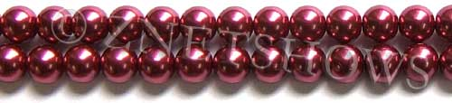 Glass Pearls <b>8mm</b> Round Raspberry Color K0588 (15.5-in-str)   per <b>5-str-hank</b>