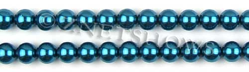 Glass Pearls <b>8mm</b> Round Montana Color K0735 (15.5-in-str)   per <b>5-str-hank</b>