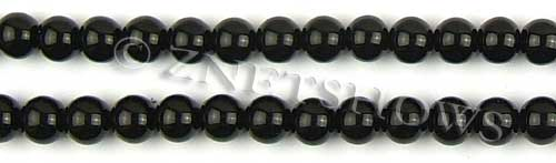 Glass Pearls <b>8mm</b> Round Black Color K0808 (15.5-in-str)   per <b>5-str-hank</b>
