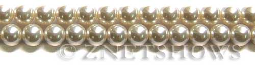 Glass Pearls <b>8mm</b> Round Off White Color K0822 (15.5-in-str)   per <b>5-str-hank</b>