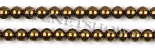 Glass Pearls <b>8mm</b> Round Bronze Color K0904 (15.5-in-str)   per <b>5-str-hank</b>