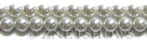 Glass Pearls <b>10mm</b> Round white K16   per <b>15.5-in-str</b>