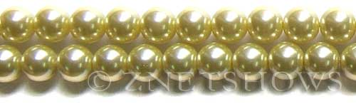 Glass Pearls <b>10mm</b> Round butter Color K121   per <b>15.5-in-str</b>