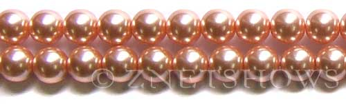 Glass Pearls <b>10mm</b> Round dusty pink K237   per <b>15.5-in-str</b>