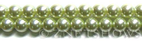 Glass Pearls <b>10mm</b> Round baby lime  K441   per <b>15.5-in-str</b>