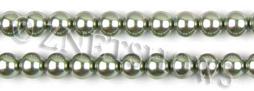 Glass Pearls <b>10mm</b> Round sage K551   per <b>15.5-in-str</b>