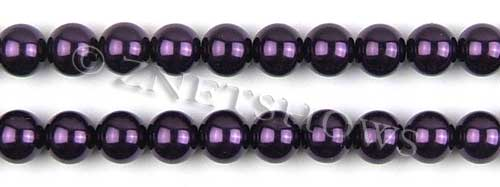 Glass Pearls <b>10mm</b> Round dark purple K995   per <b>15.5-in-str</b>