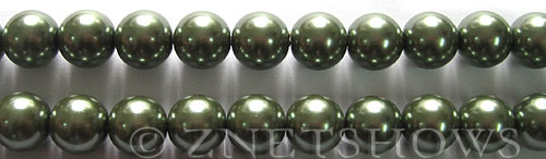 Glass Pearls <b>10mm</b> Round Autumn Green K0251   per <b>15.5-in-str</b>