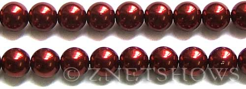 Glass Pearls <b>12mm</b> Round red K388   per <b>15.5-in-str</b>