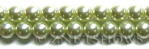 Glass Pearls <b>12mm</b> Round baby lime K441   per <b>15.5-in-str</b>