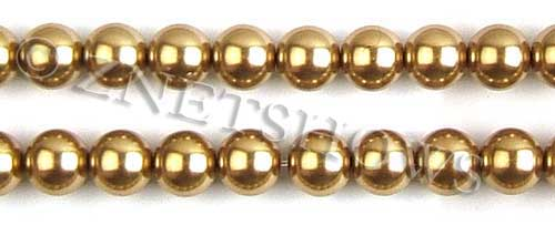 Glass Pearls <b>12mm</b> Round golden K520   per <b>15.5-in-str</b>