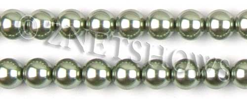 Glass Pearls <b>12mm</b> Round sage K551   per <b>15.5-in-str</b>