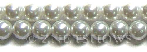 Glass Pearls <b>14mm</b> Round white K16   per <b>15.5-in-str</b>
