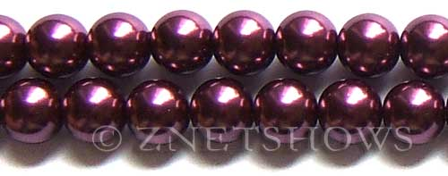 Glass Pearls <b>14mm</b> Round wine  K294   per <b>15.5-in-str</b>