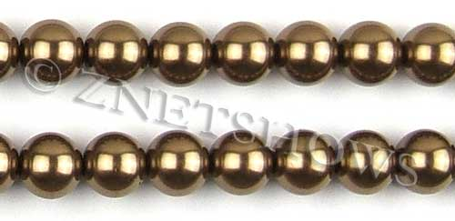 Glass Pearls <b>14mm</b> Round copper K373   per <b>15.5-in-str</b>