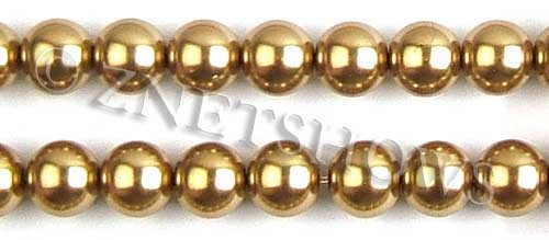 Glass Pearls <b>14mm</b> Round golden K520   per <b>15.5-in-str</b>
