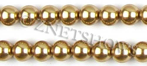 Glass Pearls <b>14mm</b> Round khaki K689   per <b>15.5-in-str</b>