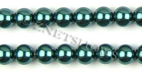 Glass Pearls <b>14mm</b> Round teal green  K1182   per <b>15.5-in-str</b>