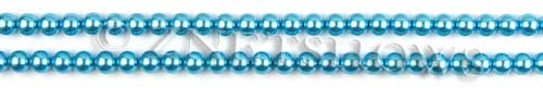 Glass Pearls <b>3mm</b> Round Blue Color K0246 (15.5-in-str)   per <b>5-str-hank</b>