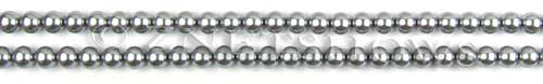 Glass Pearls <b>3mm</b> Round Gray Color K0357 (15.5-in-str)   per <b>5-str-hank</b>
