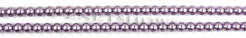 Glass Pearls <b>3mm</b> Round Orchid Color K0562 (15.5-in-str)   per <b>5-str-hank</b>