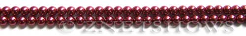 Glass Pearls <b>3mm</b> Round Raspberry Color K0588 (15.5-in-str)   per <b>5-str-hank</b>