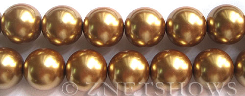 Glass Pearls <b>16mm</b> Round khaki Color K689   per <b>15.5-in-str</b>