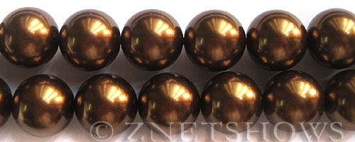 Glass Pearls <b>16mm</b> Round bronze Color K904   per <b>15.5-in-str</b>