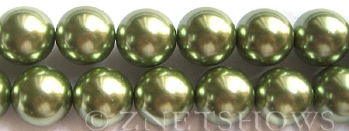 Glass Pearls <b>16mm</b> Round olive green K1660   per <b>15.5-in-str</b>