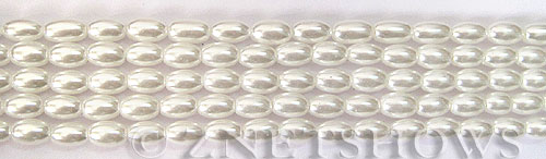 Glass Pearls <b>6x4mm</b> Rice White Color K0016   per <b>15.5-in-str</b>