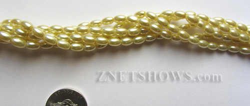 Glass Pearls <b>6x4mm</b> Rice Butter Color K0121(15.5-in-str)   per <b>15.5-in-str</b>