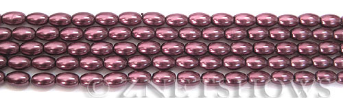 Glass Pearls <b>6x4mm</b> Rice Wine Color K0294(15.5-in-str)   per <b>5-str-bag</b>