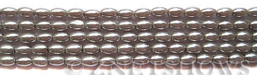 Glass Pearls <b>6x4mm</b> Rice Gray Color K0357(15.5-in-str)   per <b>5-str-bag</b>
