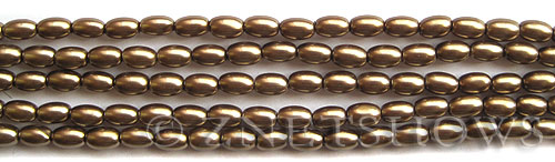 Glass Pearls <b>6x4mm</b> Rice Copper Color K0373   per <b>15.5-in-str</b>