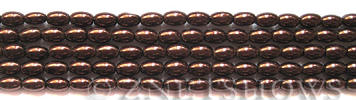 Glass Pearls <b>6x4mm</b> Rice Brown Color K0396   per <b>15.5-in-str</b>