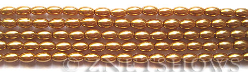 Glass Pearls <b>6x4mm</b> Rice Golden Color K0520(15.5-in-str)   per <b>5-str-bag</b>