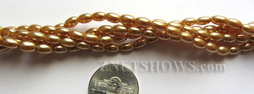 Glass Pearls <b>6x4mm</b> Rice Khaki Color K0689(15.5-in-str)   per <b>5-str-bag</b>