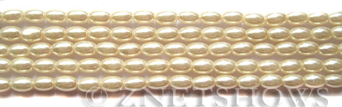 Glass Pearls <b>6x4mm</b> Rice Off White Color K0822   per <b>15.5-in-str</b>