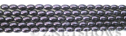 Glass Pearls <b>6x4mm</b> Rice Dark Purple Color K0995(15.5-in-str)   per <b>5-str-bag</b>
