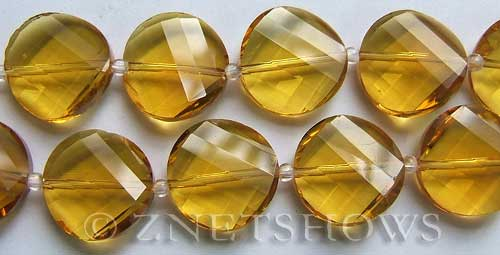 Tiaria Glass Crystal 17-Amber coin Beads <b>18mm</b> faceted twisted    per   <b> 8-in-str</b>