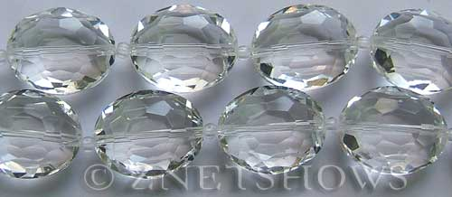 Tiaria Glass Crystal 01-Crystal oval Beads <b>20x15mm</b> faceted     per   <b> 8-in-str (10-pc-str)</b>